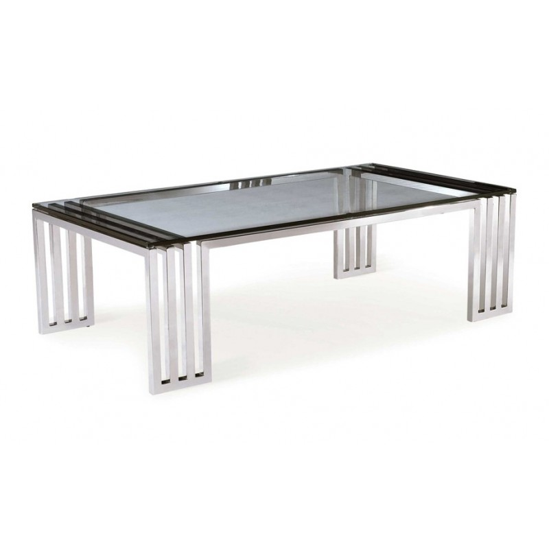 Table basse contemporaine inox massif