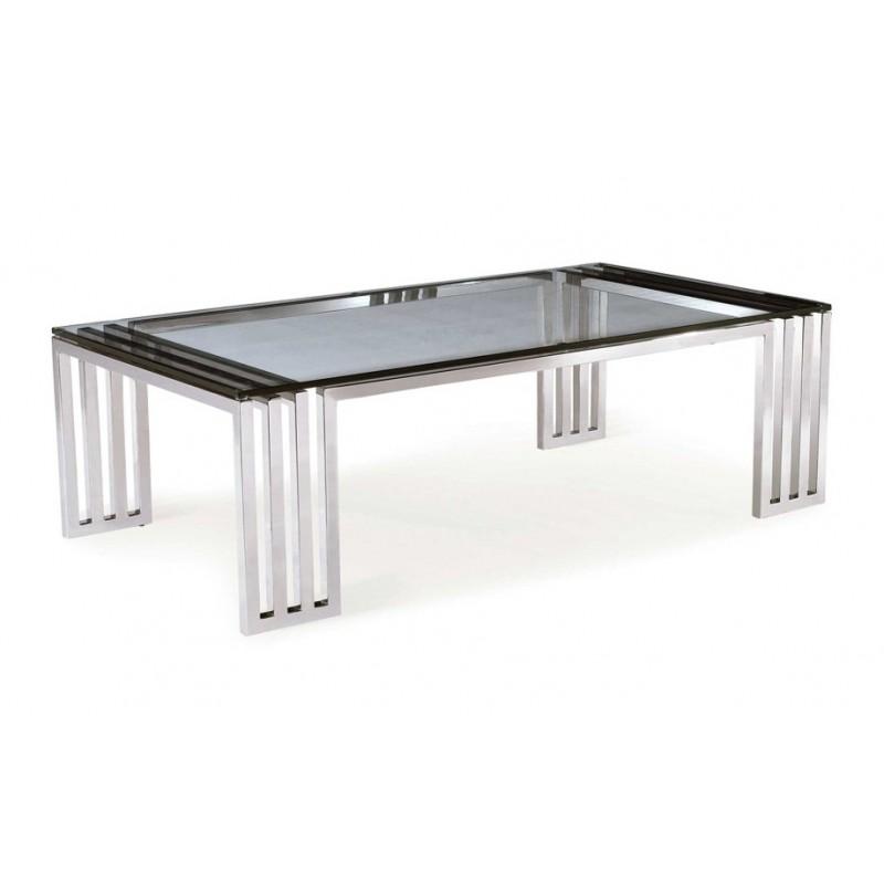 Table basse contemporaine inox massif