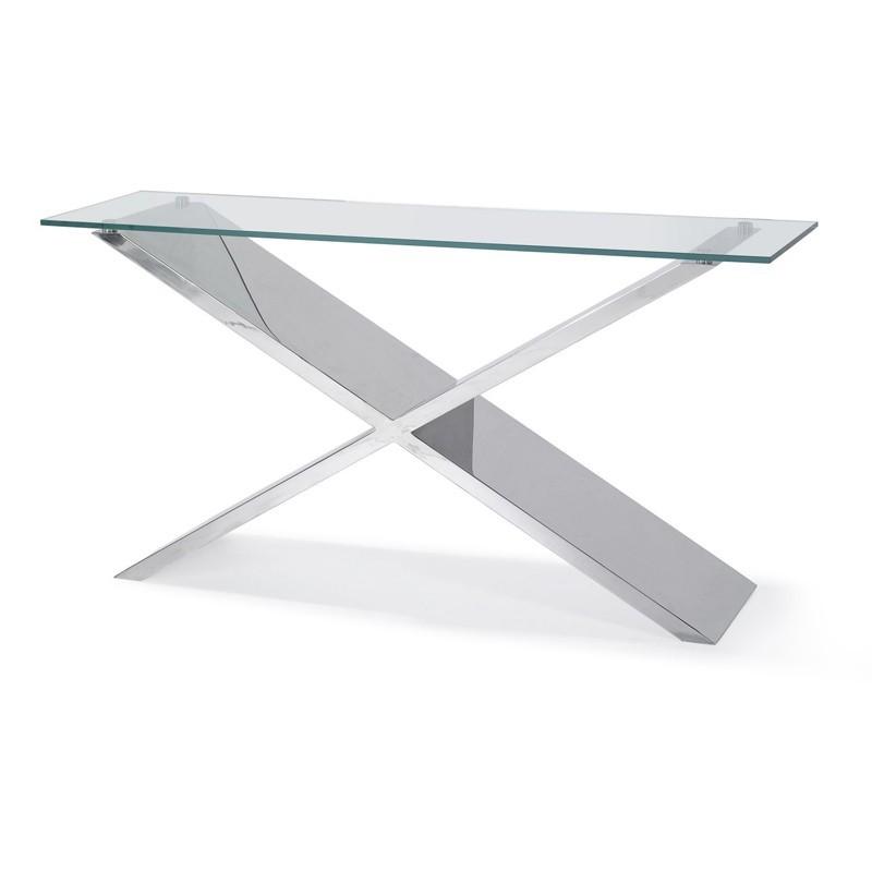 console design en verre et inox jody. Black Bedroom Furniture Sets. Home Design Ideas