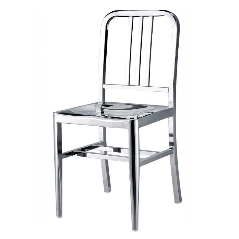 chaise navy ally en inox poli brillant. Black Bedroom Furniture Sets. Home Design Ideas