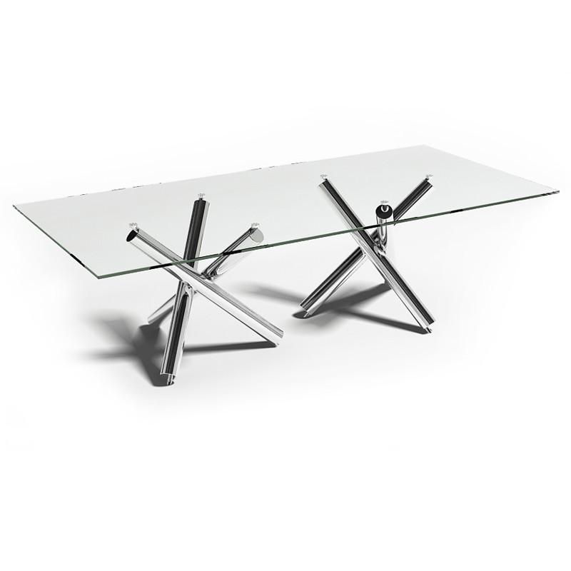 table verre et inox. Black Bedroom Furniture Sets. Home Design Ideas