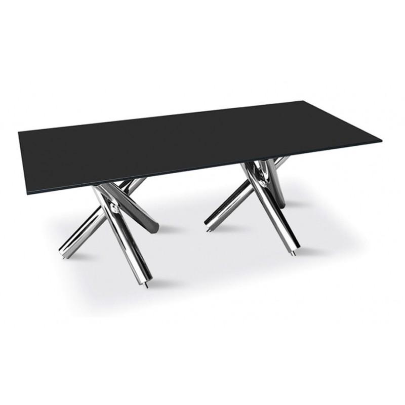 Table en verre et inox