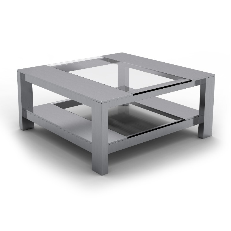 table basse inox verre