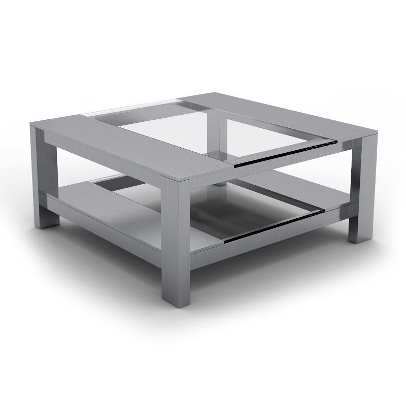 table basse inox verre