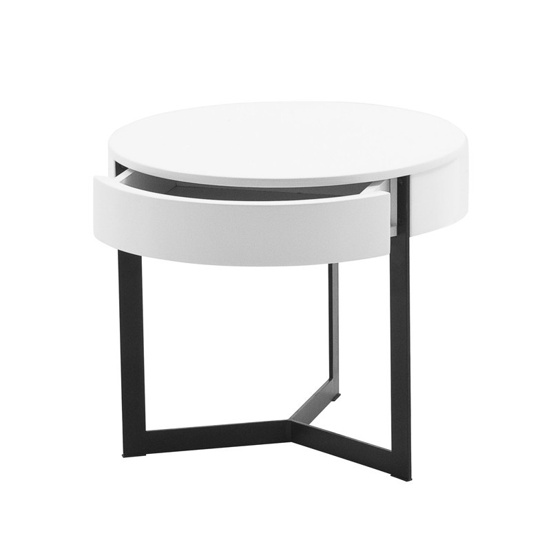 table de nuit ronde wesley prix d 39 usine designement. Black Bedroom Furniture Sets. Home Design Ideas