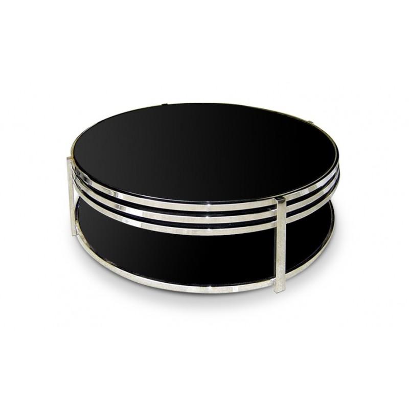 Tale basse ronde en verre noir