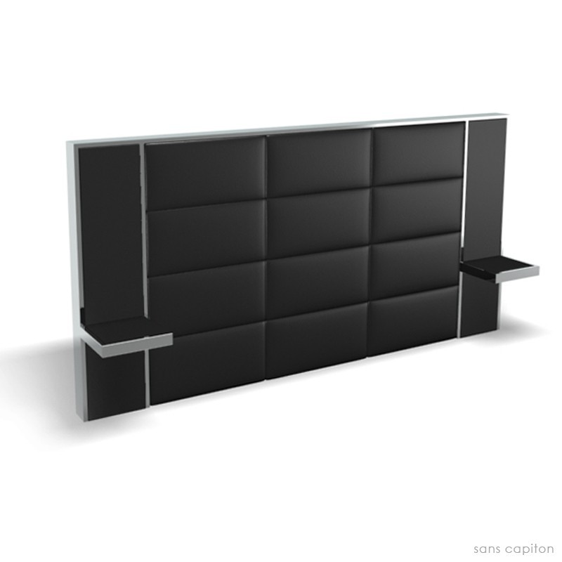 t te de lit avec chevet pour un lit queen size 160 cm. Black Bedroom Furniture Sets. Home Design Ideas