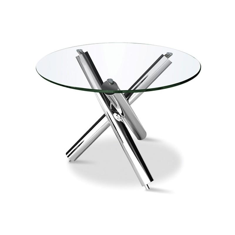 Table ronde en verre à pieds en inox