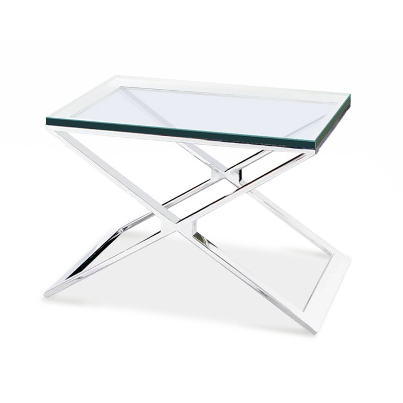 table d'appoint design en verre transparent