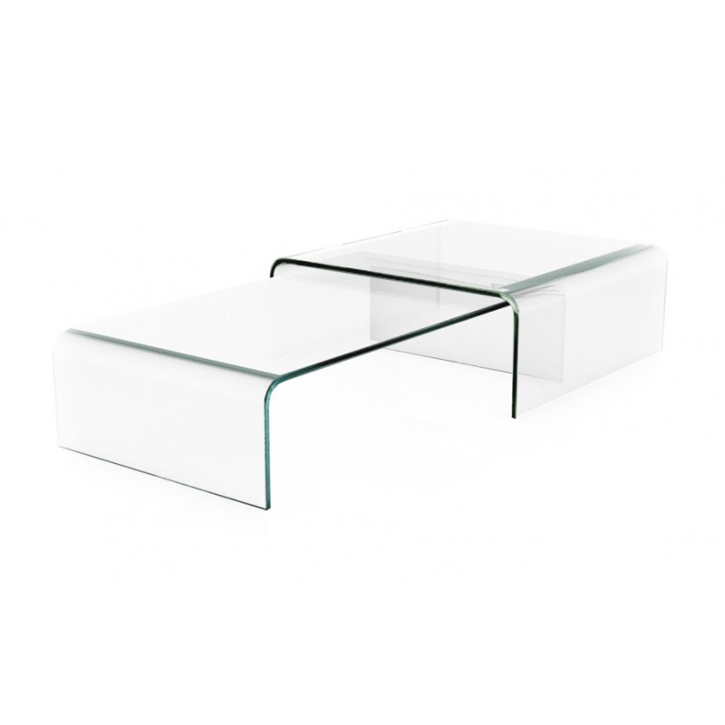 Table basse gigogne en verre transparent