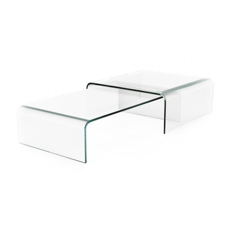 Table basse avec pont en verre tec - Tables basse gigogne ...