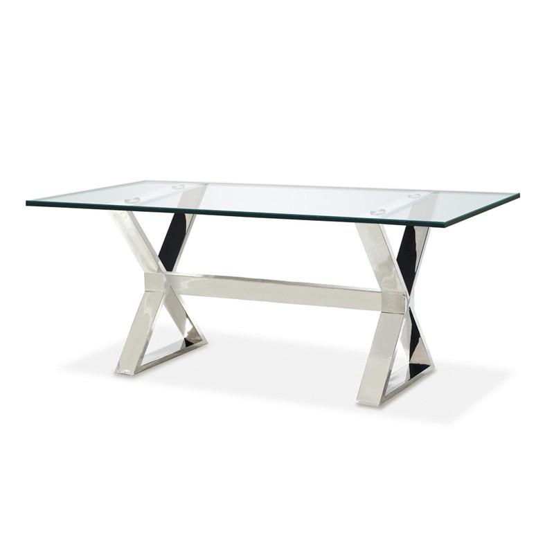 Table / Bureau en inox et verre transparent - Odyssée
