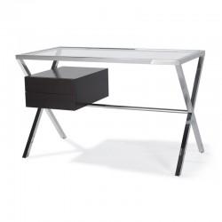 bureau en verre et bois