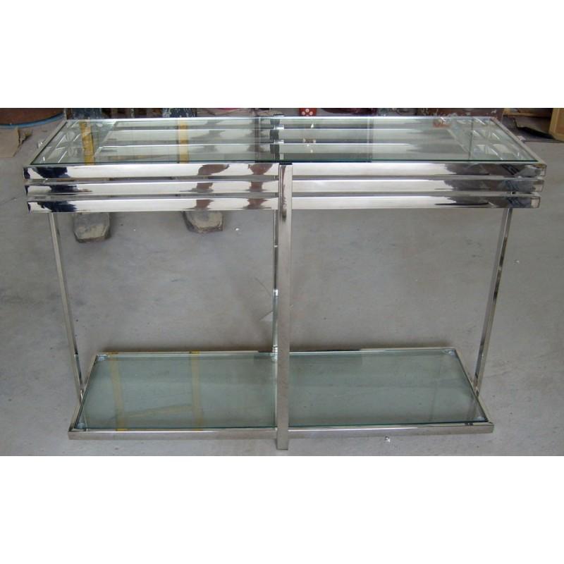 Table console en verre noir