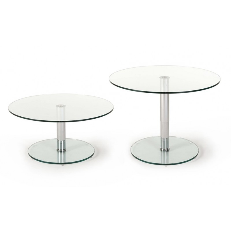 Table ronde relevable rayon transparente pied inox - Table relevable ronde ...