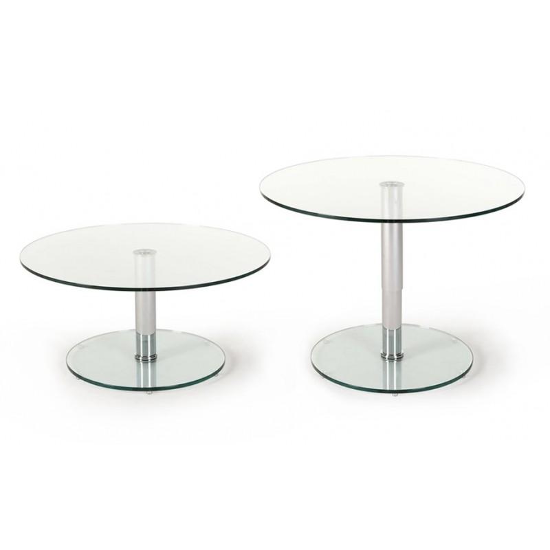 Table basse relevable ronde en verre