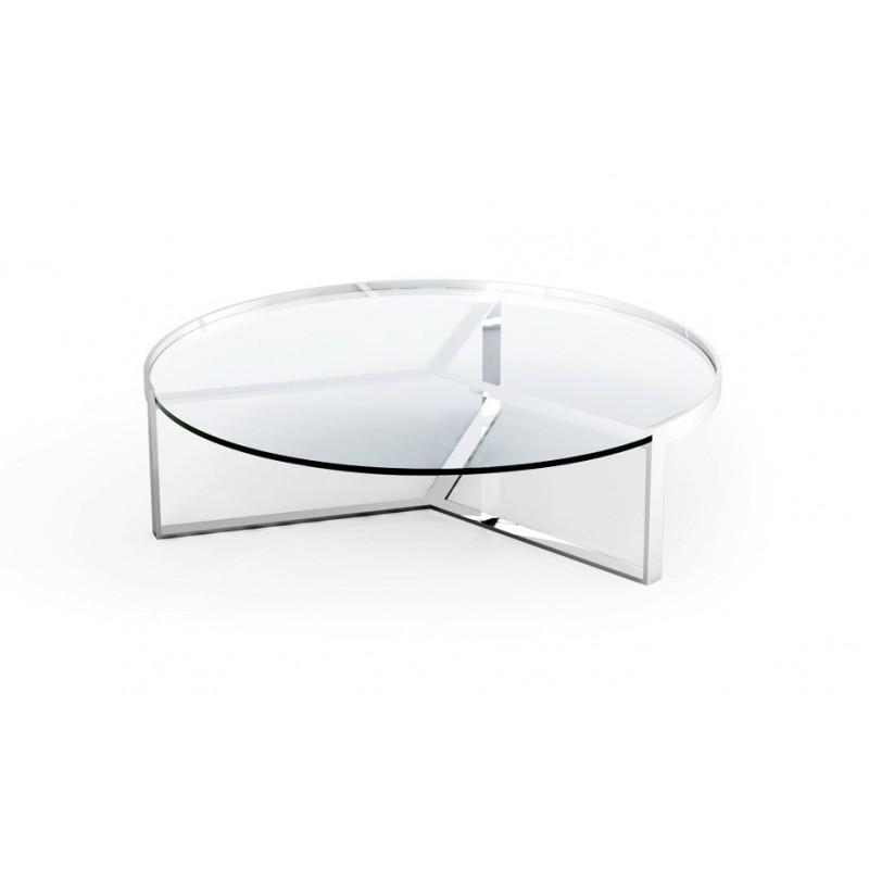 Table basse ronde transparente