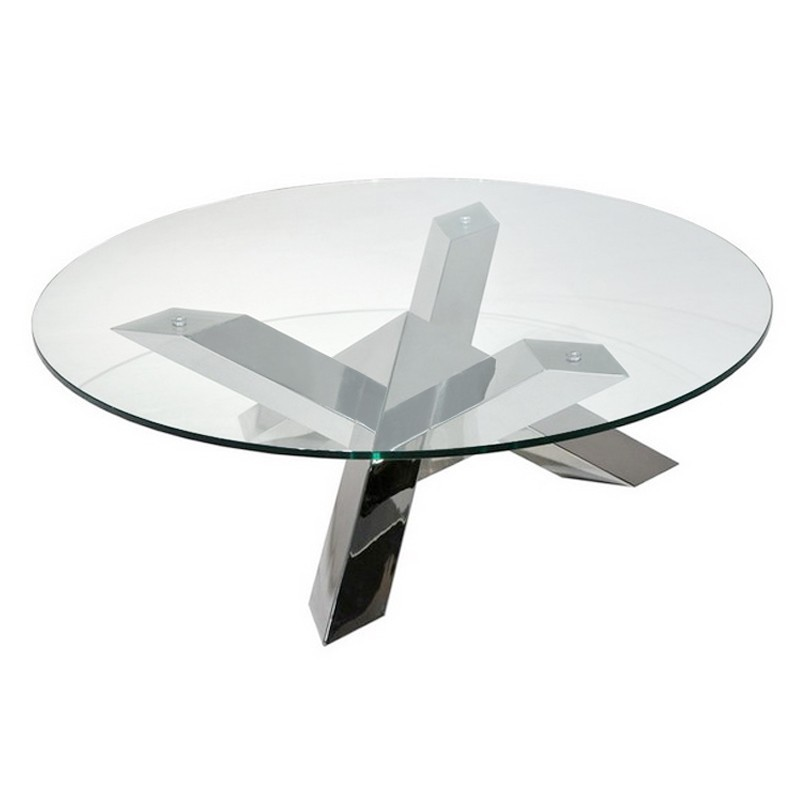 table basse pied en inox tess ronde transparente. Black Bedroom Furniture Sets. Home Design Ideas