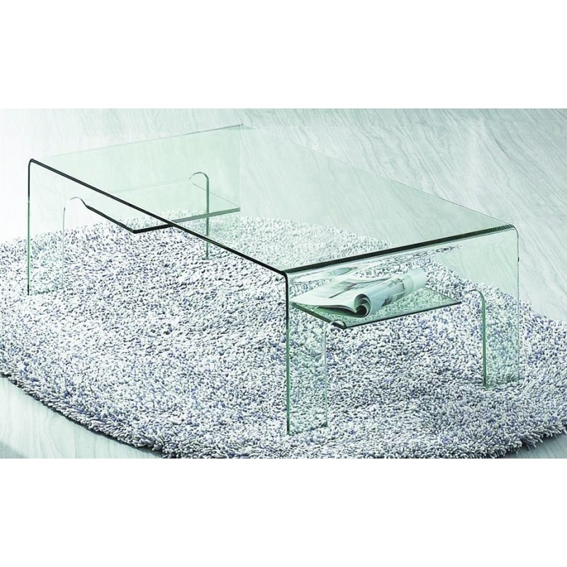 Table basse en verre transparent