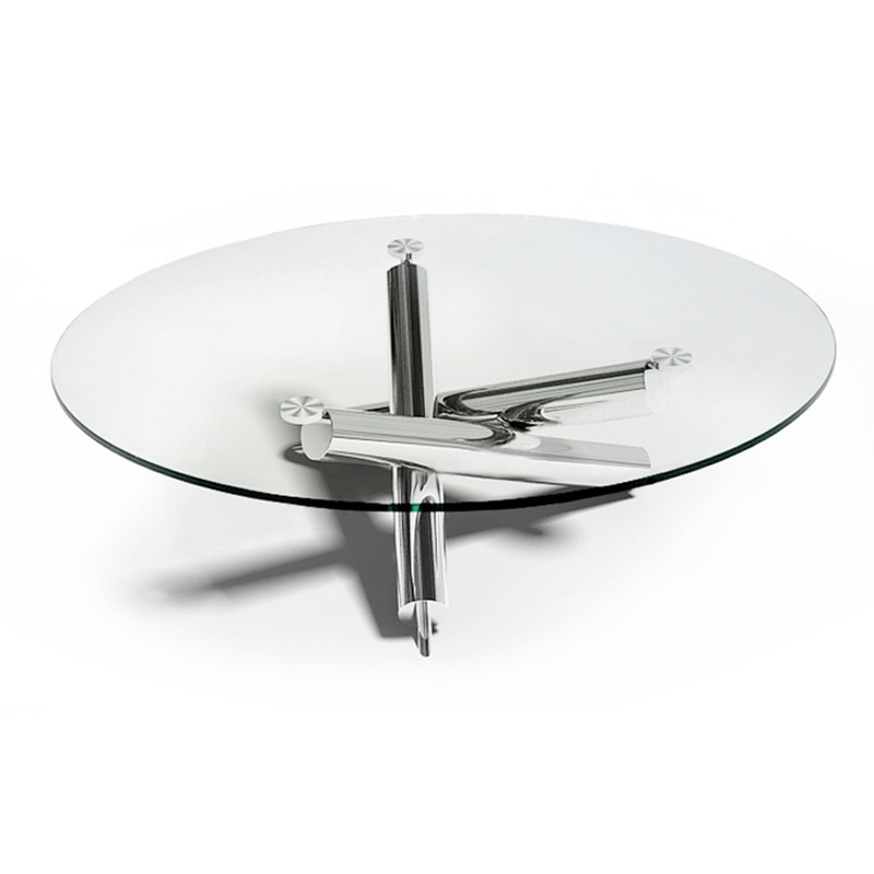 Table ronde en verre transparent et pied en inox